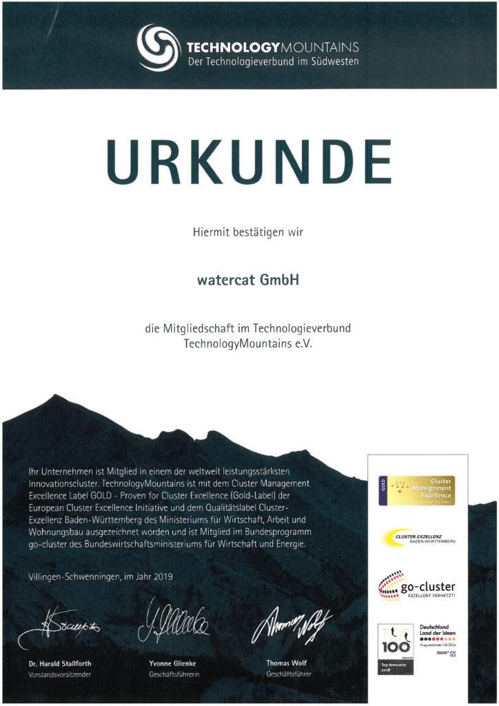 Mitgliedschaft Technology Mountains watercat GmbH